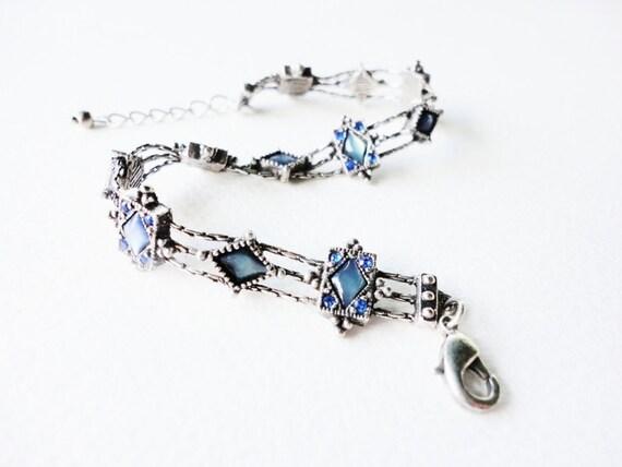 vintage retro geometric shapes and  blue rhinestones bracelet