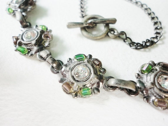 vintage necklace with round links rhinestones and seed beads