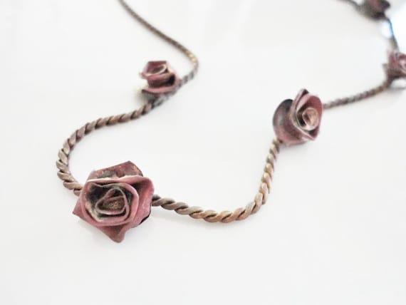 vintage antique handmade roses flower short necklace metalwork jewelry