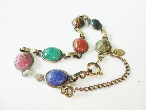 vintage Burt Cassell bracelet with semi precious scarab inserts 1/20 12KT