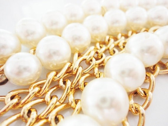 OOAK gold chain and big pearls necklace and  bracelet handmade jewelry