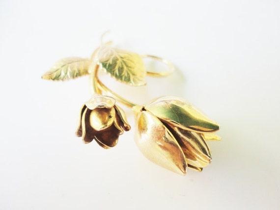 vintage elegant golden  tulips flowers costume vintage pin brooch