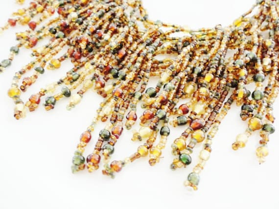 statement necklace glass beads fringe bib green amber color vintage jewelry