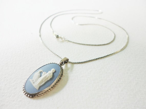 Sterling silver Blue Wedgwood Jasperware porcelain oval cameo  with  white porcelain image of Hebe