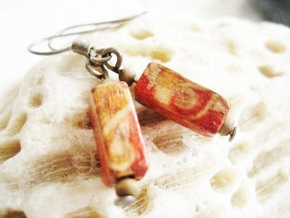 Very old shabby vintage pair of handmade earrings with red wood beads