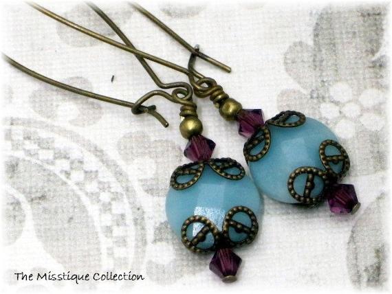 Amazonite Brass Earrings, Amazonite Earrings, Beaded Earrings, Swarovski Crystal Earrings, Blue Earrings, Gemstone Earrings, Brass Jewelry