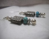 Earrings--Turquoise and Silver Dangle Drops