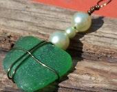 Green sea glass gift pendant