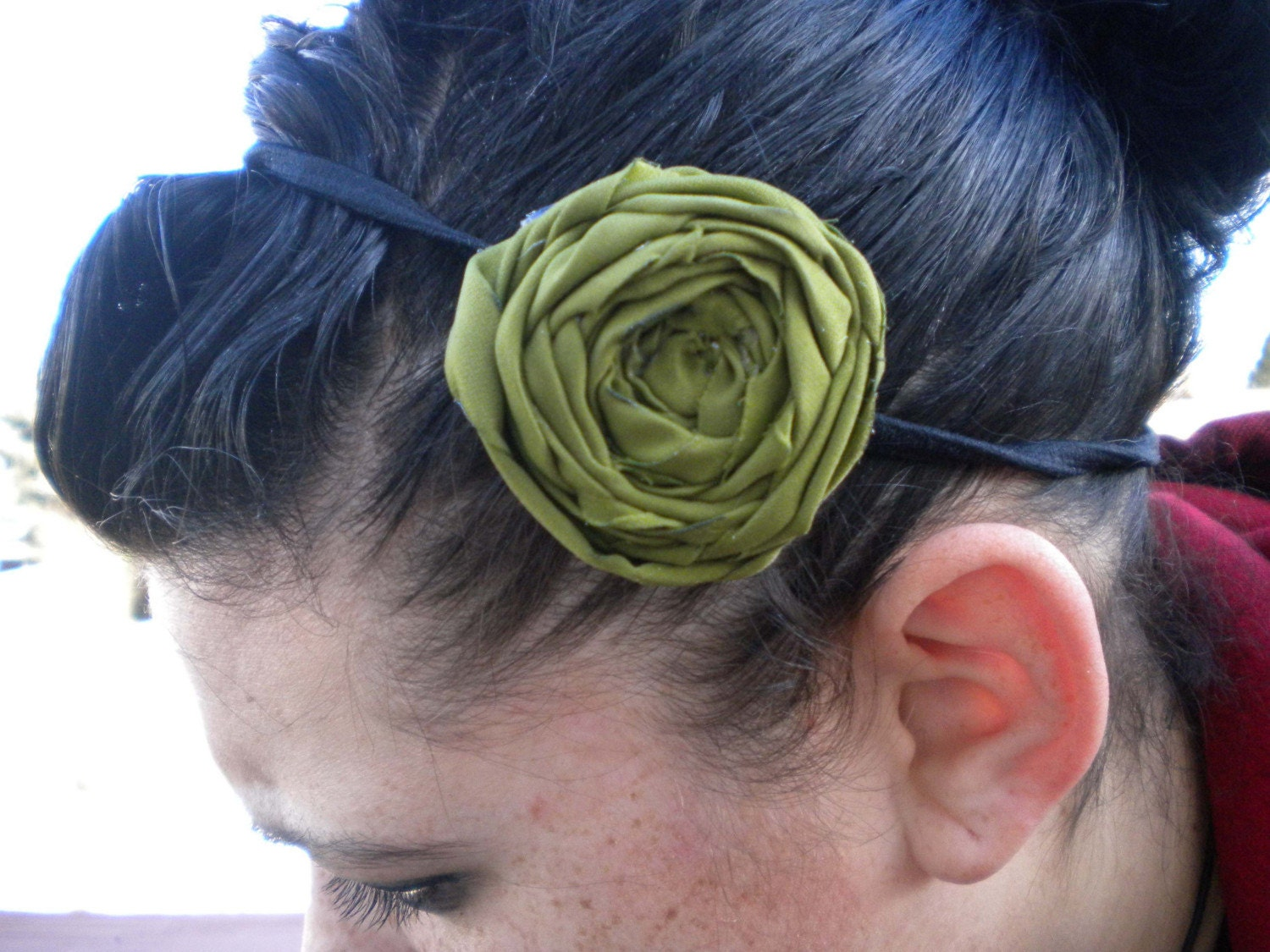 GREEN SINGLE FABRIC FLOWER HEADBAND