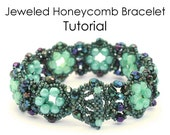 PATTERN  Jeweled Honeycomb Bracelet - PDF file