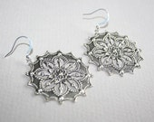 Antique Silver Victorian Style Flower Filigree  Earrings, Sterling Silver earring hooks available