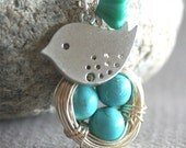 Bird Nest Necklace, Turquoise Egg Nest, Bird Necklace, Three Eggs, Sterling Silver, Nest Necklace, Flower Necklace,Gift and Everyday Jewelry