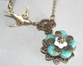 Flower Necklace with Sparrow Bird and Turquoise Flower