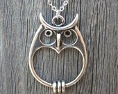 Silver Owl Necklace,  Owl Pendant Necklace, Owl Jewelry, Sterling Silver, Cute Owl Necklace