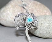 Tree and Bird Necklace, Bird Nest Necklace, Tree Necklace, Bird Nest necklace, Sparrow Necklace, Tree of Life necklace, Sterling Silver