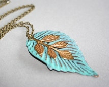 Leaf  Necklace, Branch  Necklace, Pendant Necklace, Vintage Stayle, Antique Gold Branch Necklace, Antique Hand Patina Leaf Necklace