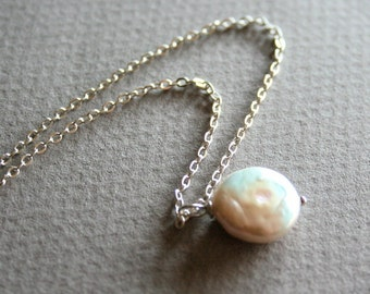 White Freshwater Coin Pearl  Necklace, Sterling Silver chain available