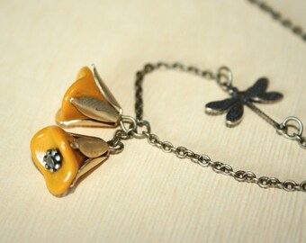 Flower Dragonfly Necklace