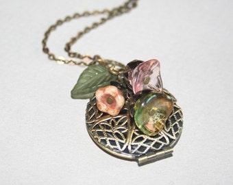 Locket Necklace Flower Locket Necklace Filigree Locket