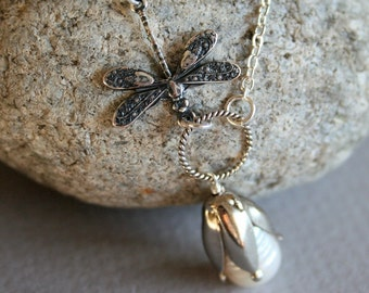 Dragonfly Necklace, Freshwater Pearl Necklace, Lily Cap, Sterling Silver, Silver Dragonfly Jewelry, Pearl Necklace, Wedding Jewelry, Gift