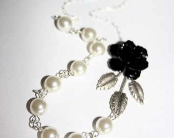 Black Flower Necklace with leaf branch and pearls, Sterling Silver chain available