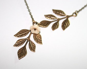 Antique Branch and Leaves Necklace with Flower