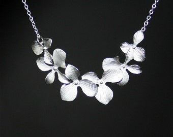 Orchid Flowers Necklace, Orchids necklace in silver,Sterling Silver, Wedding Necklace,Orchid Jewelry, Bridesmaids Gift,Gold Orchid available