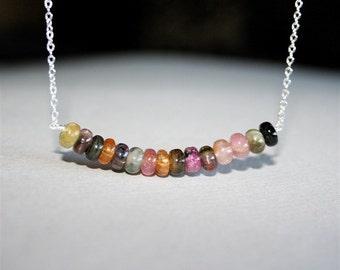 Multicoloured Tourmaline Gemstone Necklace, Sterling Silver, Stone Necklace, Gemstone Necklace