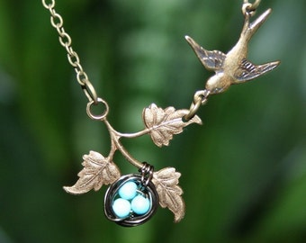 Bird Necklace with Bird Nest on Branch