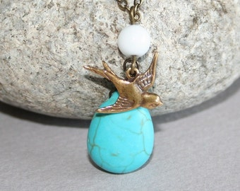 Turquoise Stone and  Bird Necklace