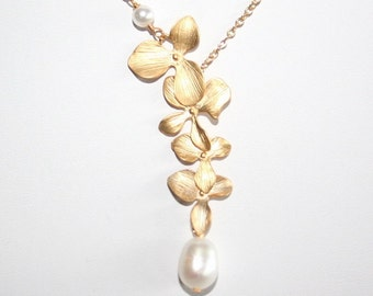 Gold Orchid  Necklace with Pearls, Wedding Jewelry, Gift