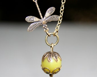 Dragonfly Necklace with Lemon / Olive Jade
