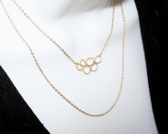 Gold Multiple Teardrop Rings Necklace with double layer chain - silver available