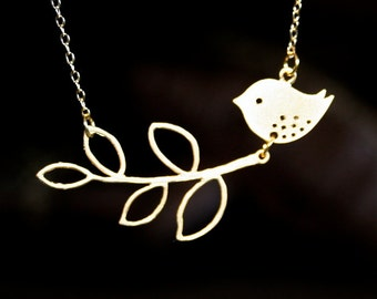 Gold Branch Necklace, Bird Necklace , Leaves Branch - silver available