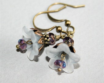 White Flower Earrings with Purple Crystal
