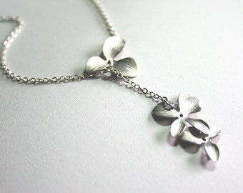 Silver Orchid Lariat Necklace , Orchids Necklace, Lariat Necklace, Wedding Jewelry, Bridesmaids Necklaces, Sterling Silver