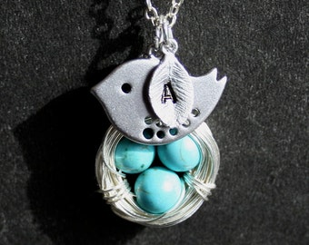 Bird Nest Necklace, Personalized Nest Necklace, 3 Blue Eggs,  Monogram Bird Neckalce,  Mother's day Gift, Sterling Silver