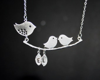Birds Setting on Branch Necklace, Custom Initials, Personalized Necklace, Birds Necklace, Gift, Sterling Silver, Bird Monogram Necklace, Mom