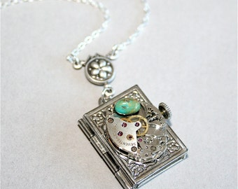 Steampunk Locket Necklace - Vintage Watch Movement Part and Book Locket Necklace, Sterling Silver