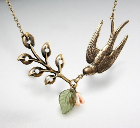 Bird Necklace with Branch,  Leaf and Flower