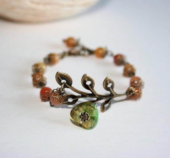 SALE   Leaf Branch Flower  Agate Stone Bracelet