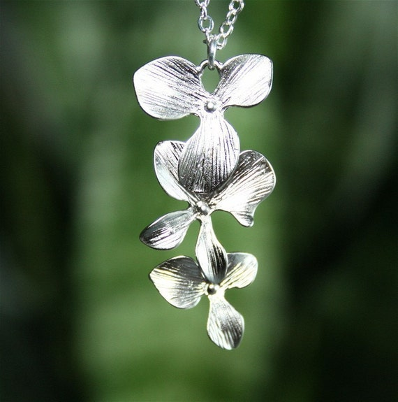 Silver Orchid Necklace, Flower Necklace, Wedding Jewelry, Bridesmaids Necklaces, Triple Orchid Necklace, Sterling Silver