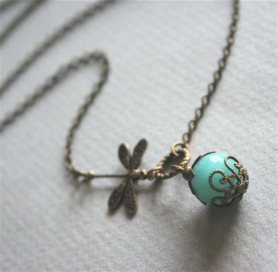 Dragonfly Necklace, Mint Blue Jade Stone Necklace, Ventage Style Dragonfly Jewelry