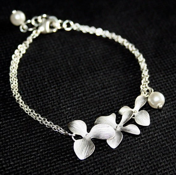 Silver Orchid  Bracelet, Orchid and Pearl Bracelet, Personalized Orchid Bracelet, Bridesmaids Gift, Bridal Wedding Jewelry, Sterling Silver