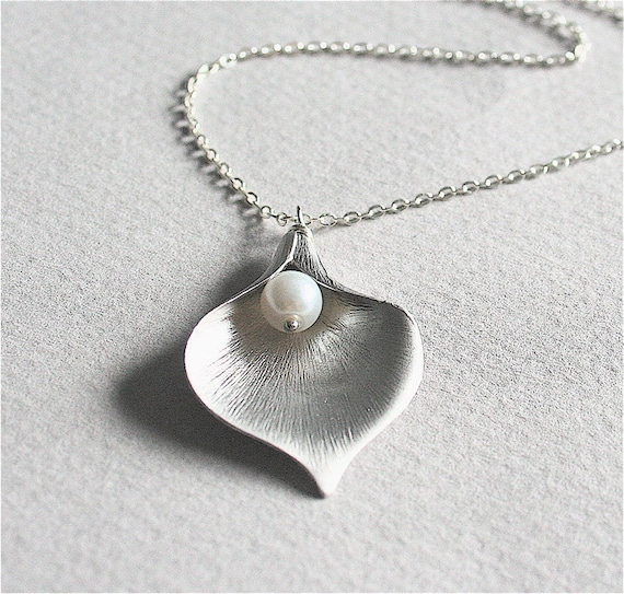Calla Lily Necklace with White Pearl, Sterling Silver