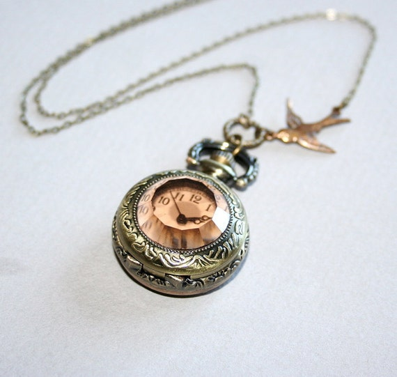 Pocket Watch Necklace - Bird Necklace, Working Watch with Brown Glass Front