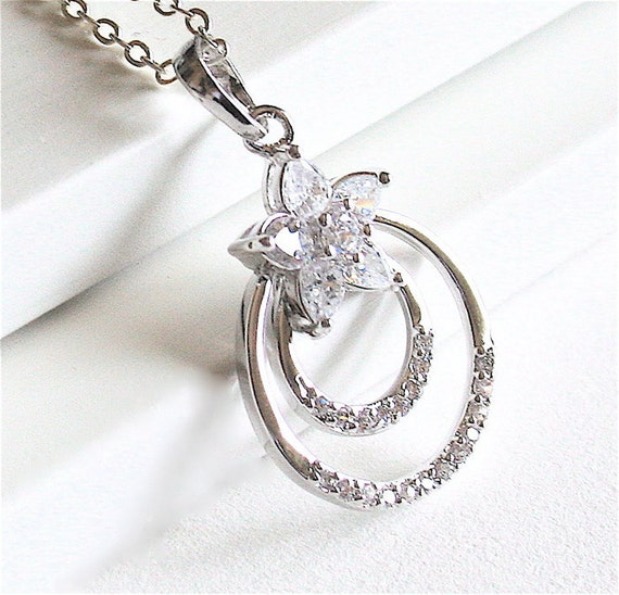 Rhinestone Necklace, Two circles setting,  Sterling Silver chain available