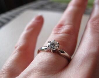 Moissanite diamond engagement ring in white gold
