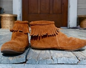 Honey Brown fringed MOCCASIN booties-Size 6\/6.5