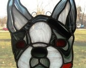 stained glass boston terrier, charlie